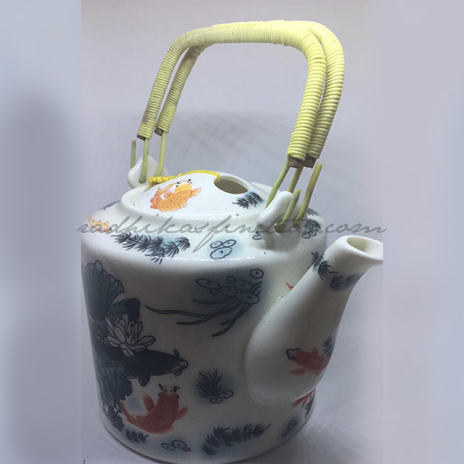 Oriental Porcelain Kettle, Style, Finger-Held Lid