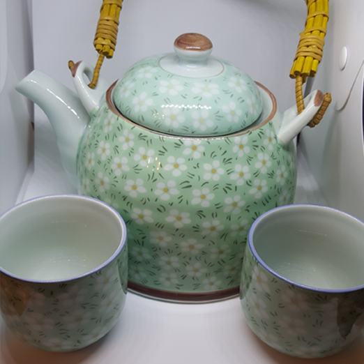 Green, Oriental Style Kettle With Two Cups