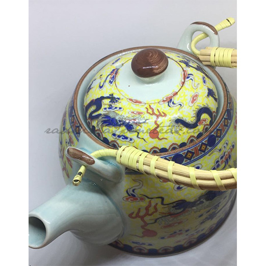 Oriental Porcelain Kettle, Yellow Dragon Print