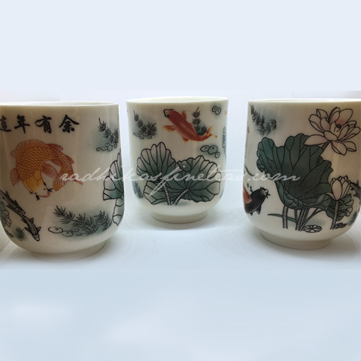 Oriental Tea Glasses, Birdie print