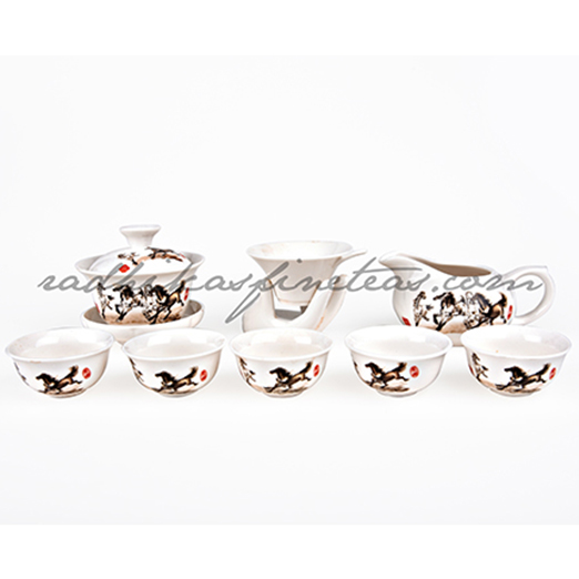 Oriental Tea Ceremony set, Horse Print