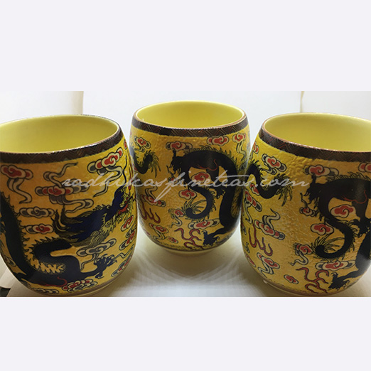 Oriental Tea Glasses, Dragon Print