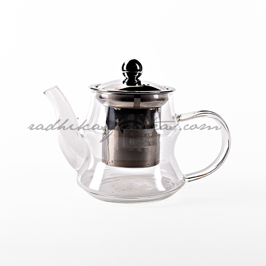 Oriental Glass Small Kettle, Style, Steel Infuser