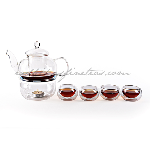Tea Lite and Tea Burner Glass Kettle Set with Glass cups