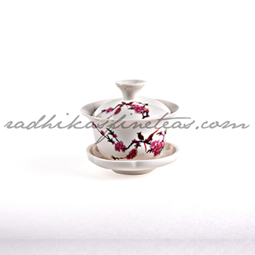 Cup-Saucer, Gaiwan, Red Floral Print