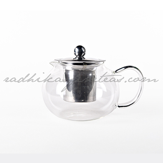 Round Glass Kettle, with Steel Infuser
